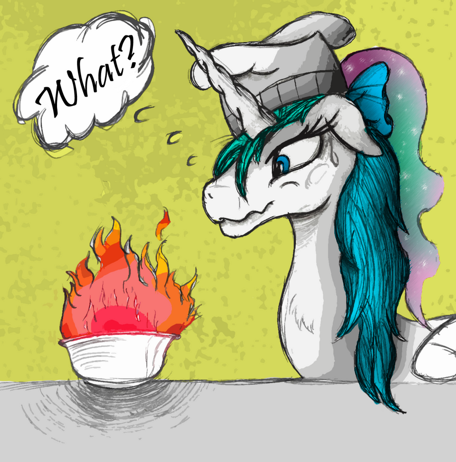 Celestia Attempts Cooking Again - Colored by AncientOwl