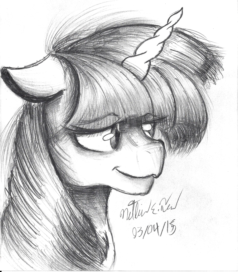 Twilight Sparkle Portrait Sketch by AncientOwl