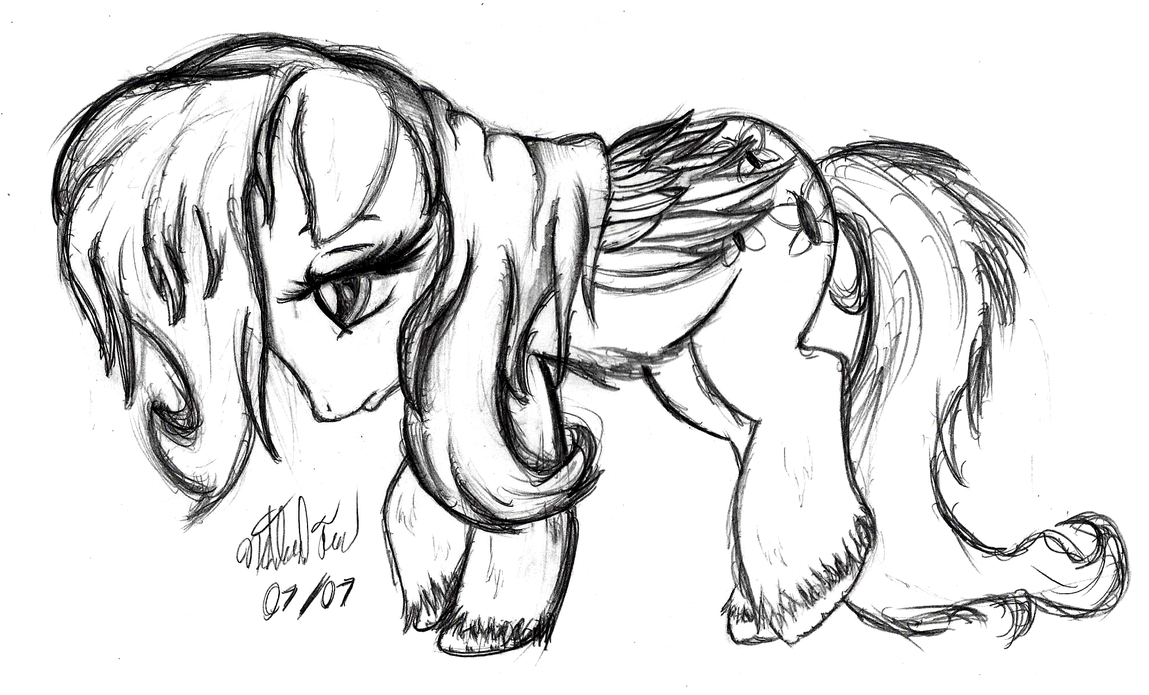 Fluttershy Sketch - Sadness by AncientOwl