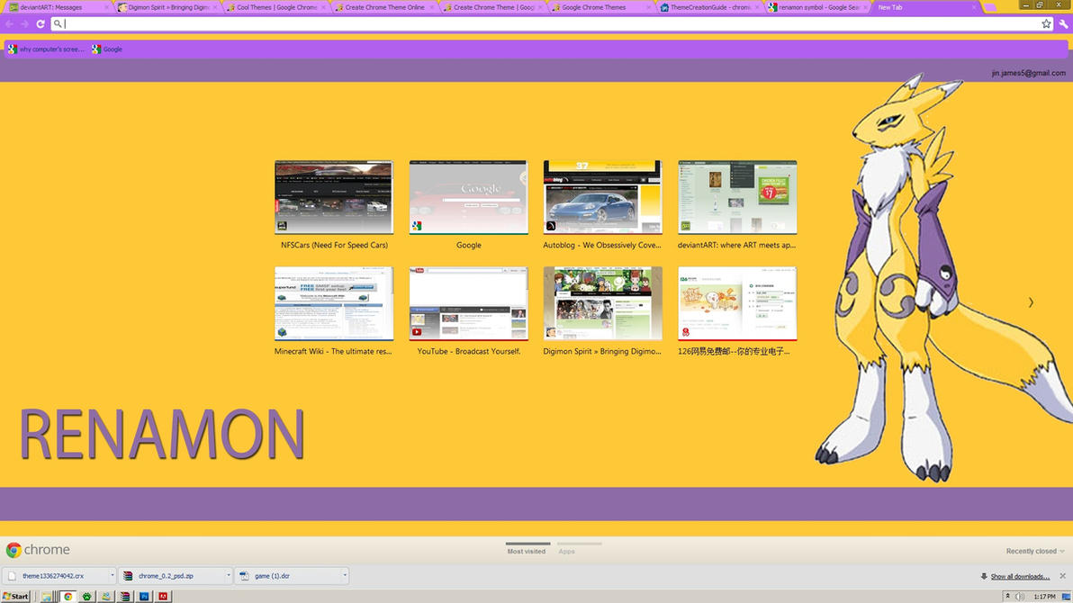 Google chrome themes yellow - Renamon Google Chrome Theme By Renamonrox