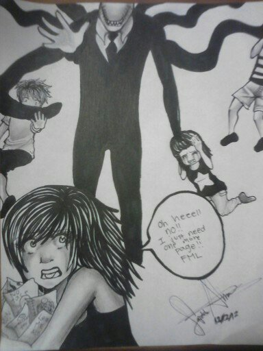 Dam you slenderman i just need one more page! by SaiChansArt