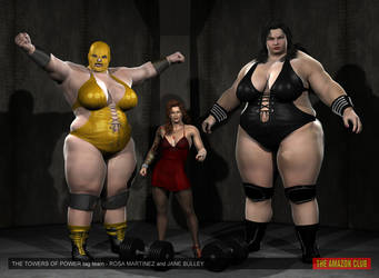 Towers of Power giantess female wrestling tag team by theamazonclub