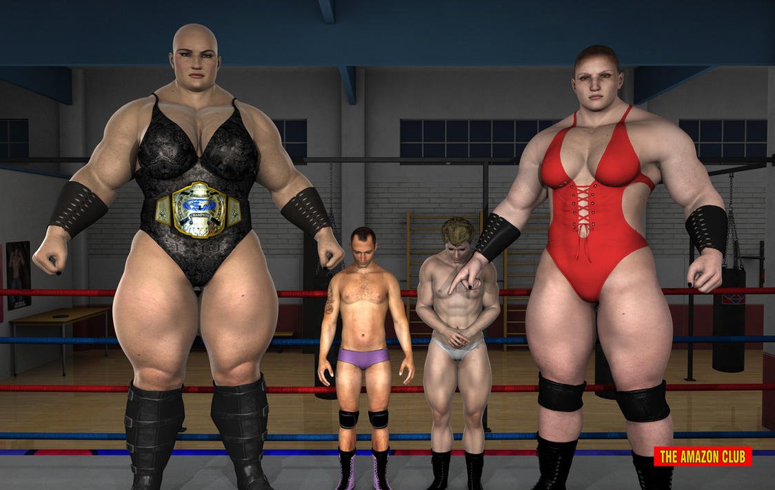 Giantess wrestlers pose pre-match with opponents by theamazonclub