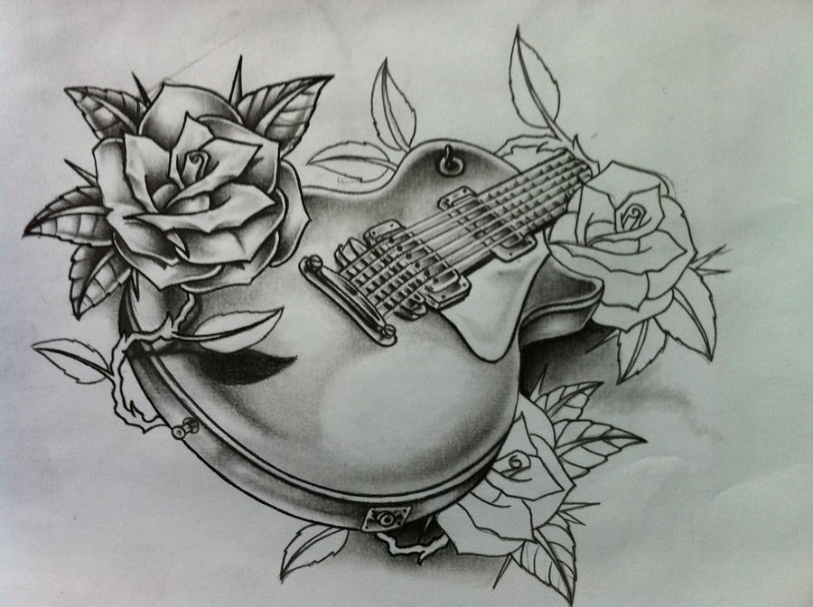 Guitar shaded some more by nsanenl on DeviantArt