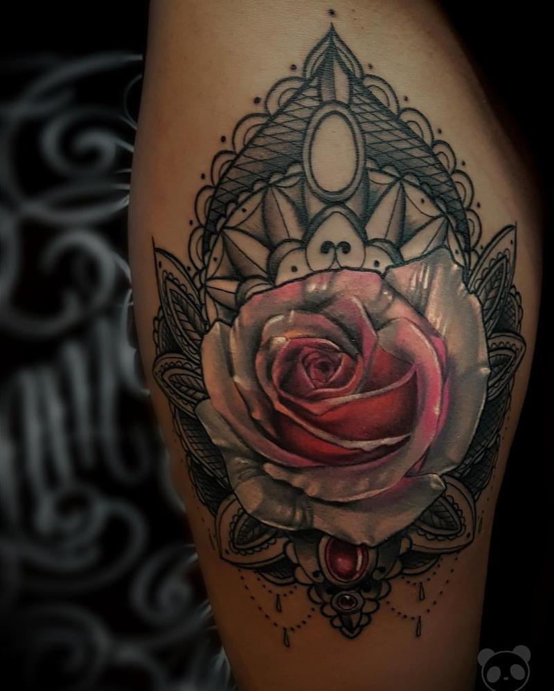 rose color merge mandala tattoo by nsanenl on deviantart. Black Bedroom Furniture Sets. Home Design Ideas
