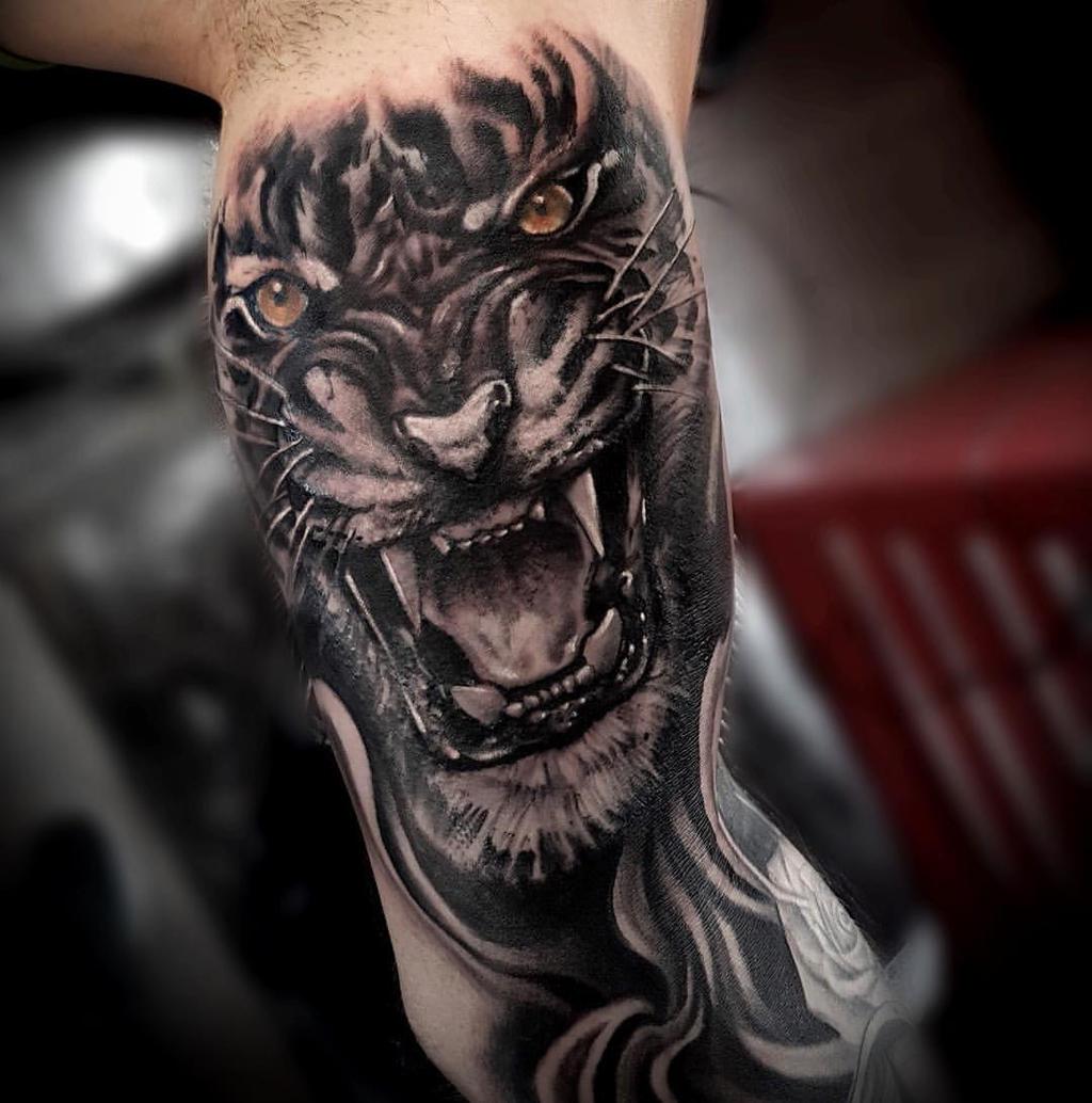 Тату тигра с оскалом