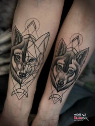 Wolf tattoo couples  by nsanenl