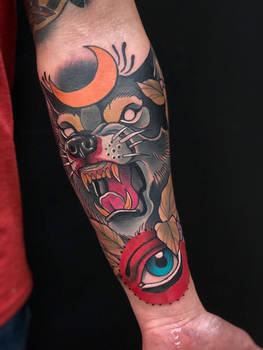 Neotraditional wolf and moon tattoo