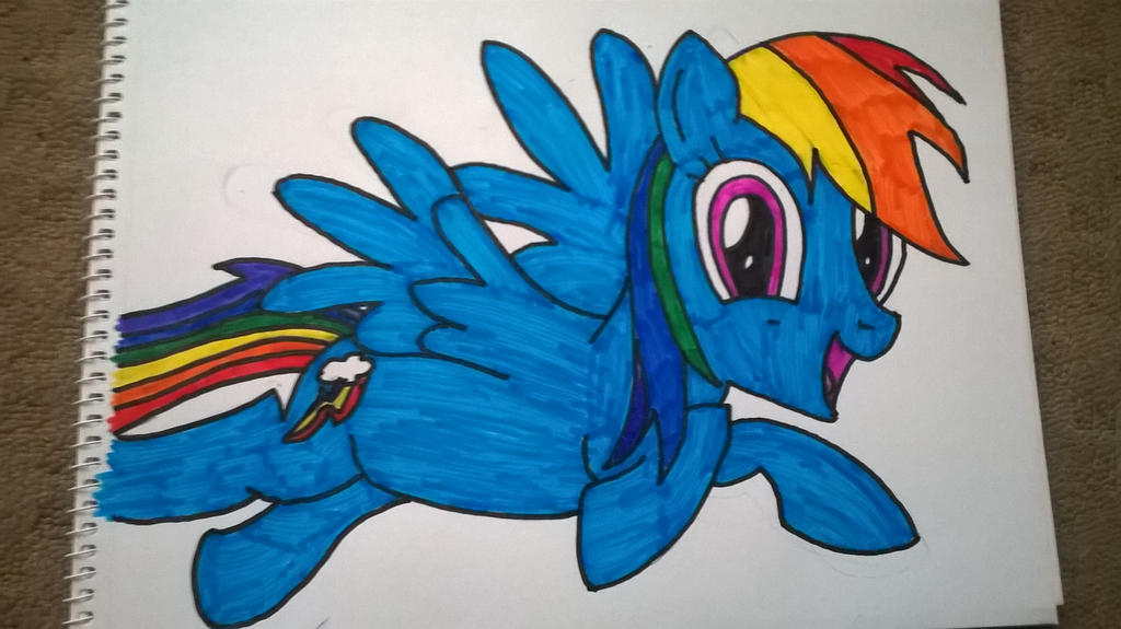 how to draw rainbow dash flying