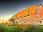 Old barn, sunset-washed, HDR