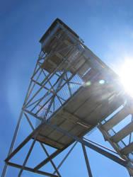 Lens flare, tower Mt. Arab, NY