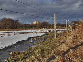 Water, ice, fence, barn by Lectrichead