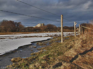 Water, ice, fence, barn