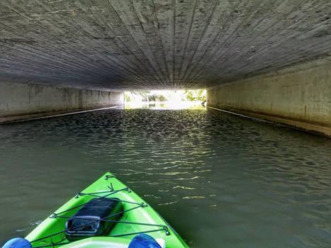 creepy little bridge on kayak on Muskellunge Creek