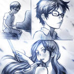 Your Lie in April practice sketches