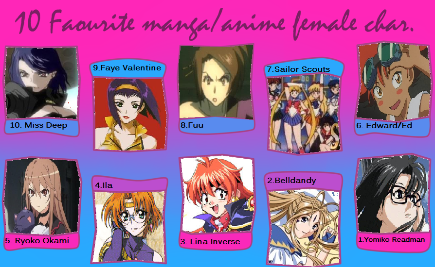 My Top 10 Anime Female Characters By BBAngel17