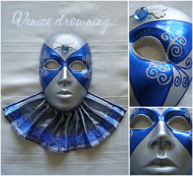 Blue and silver Venetian mask