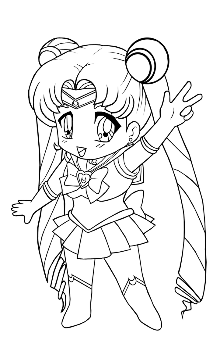 Lineart: Chibi Sailor Moon by The-PirateQueen on DeviantArt