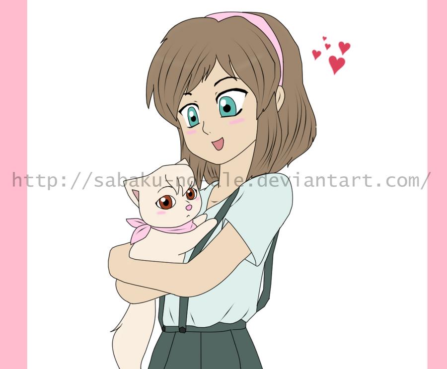 tlk humanos (anime) __a_girl_and_a_kitten___by_sabaku_no_ale-d305tj8