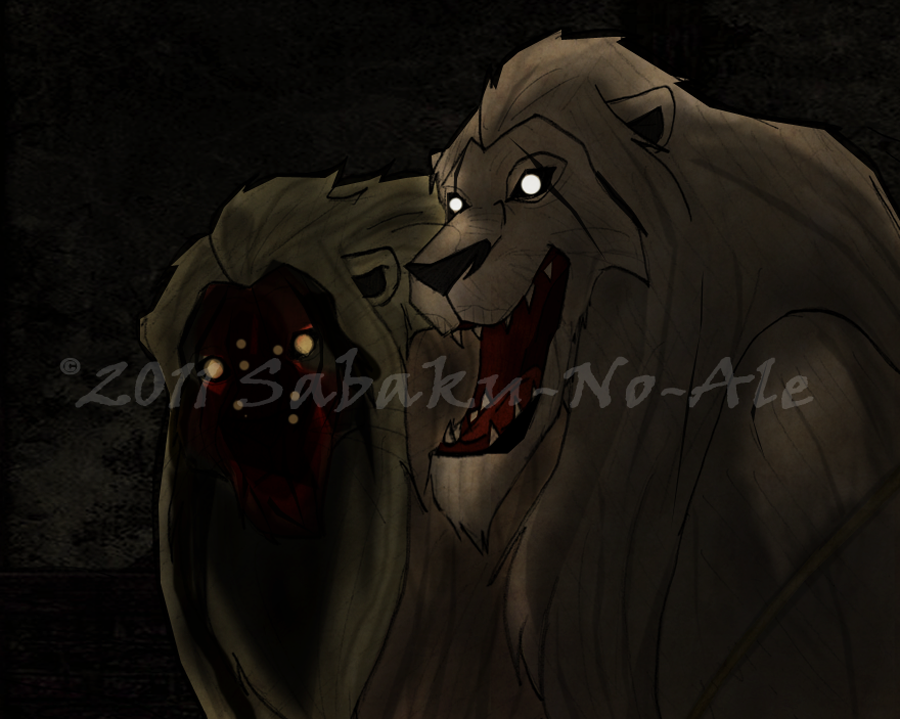 Creepy lions... by The-PirateQueen