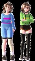 [MMDxUndertale] Chara and Frisk + DL