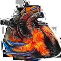 Wraith hand on burning heart 200px by EXOstock
