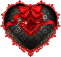 Black and red heart with lace 120px