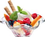 White ice cream with fruit 150px