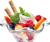 White ice cream with fruit 50px