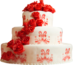 Red and white cake with roses 150px