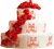 Red and white cake with roses 50px