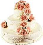 White cake with pink roses 150px