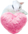 Pink fur heart with white cat 50px