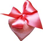 Silk heart with a bow 150px
