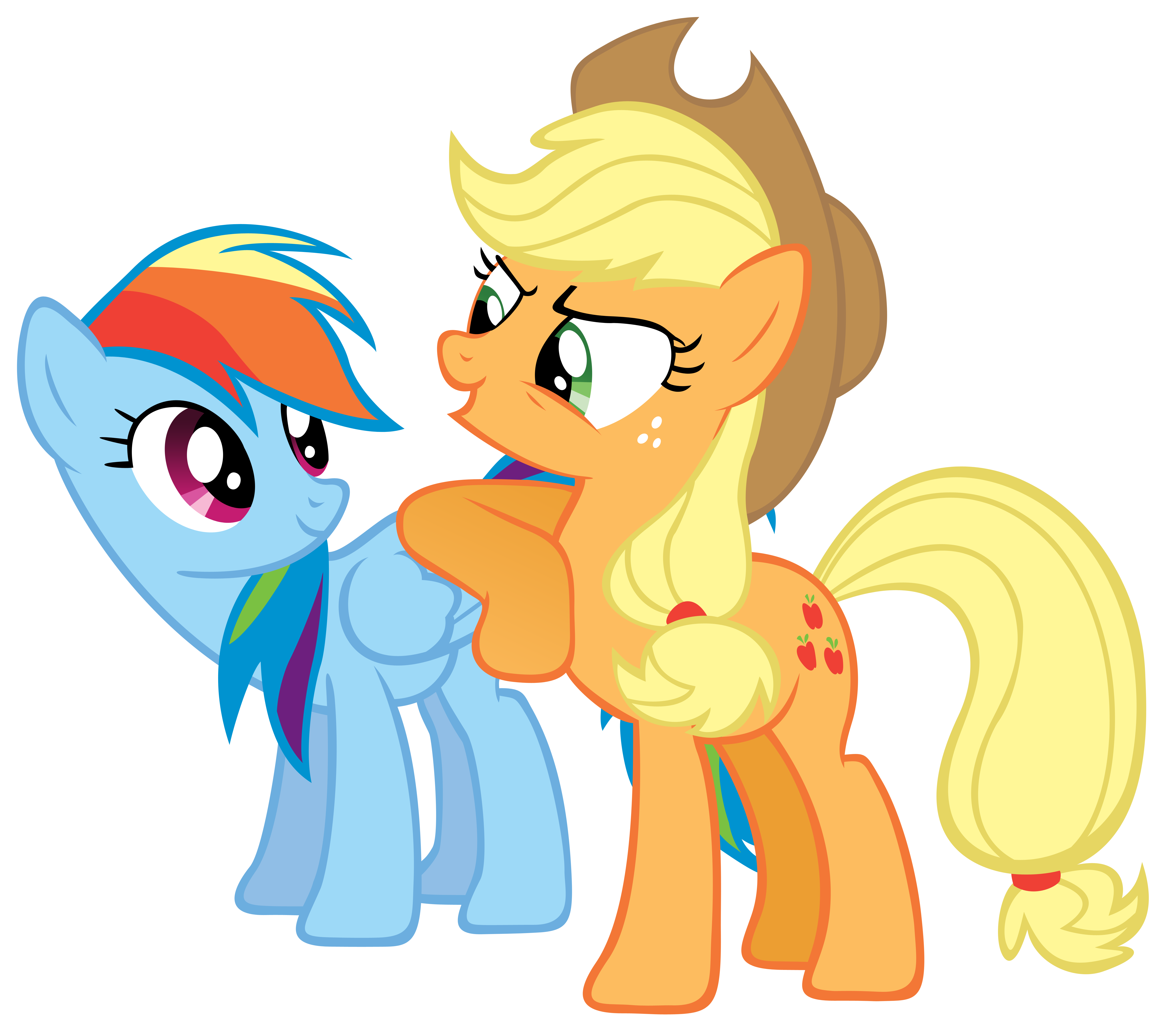 Applejack leaning on Rainbow by Are-you-jealous