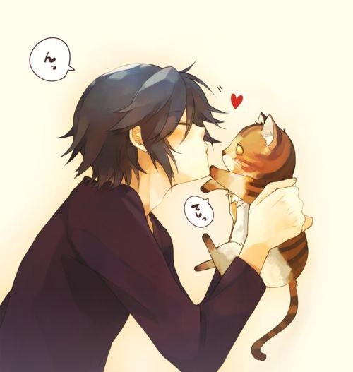Anime Boy And Cute Cat By Peterrustoen