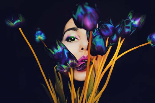 Tulips on her lips