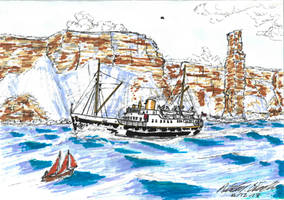 MV St Ola III and the Old Man of Hoy. by AJF3440