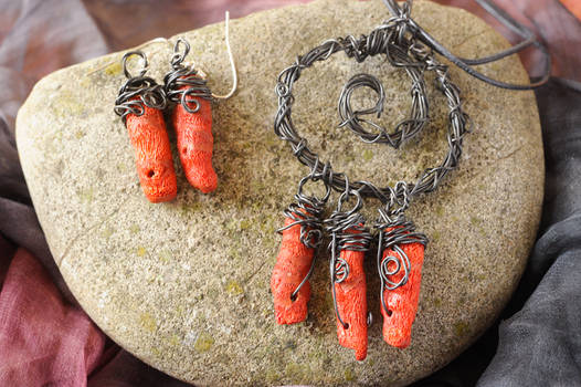 coral necklace and earrings