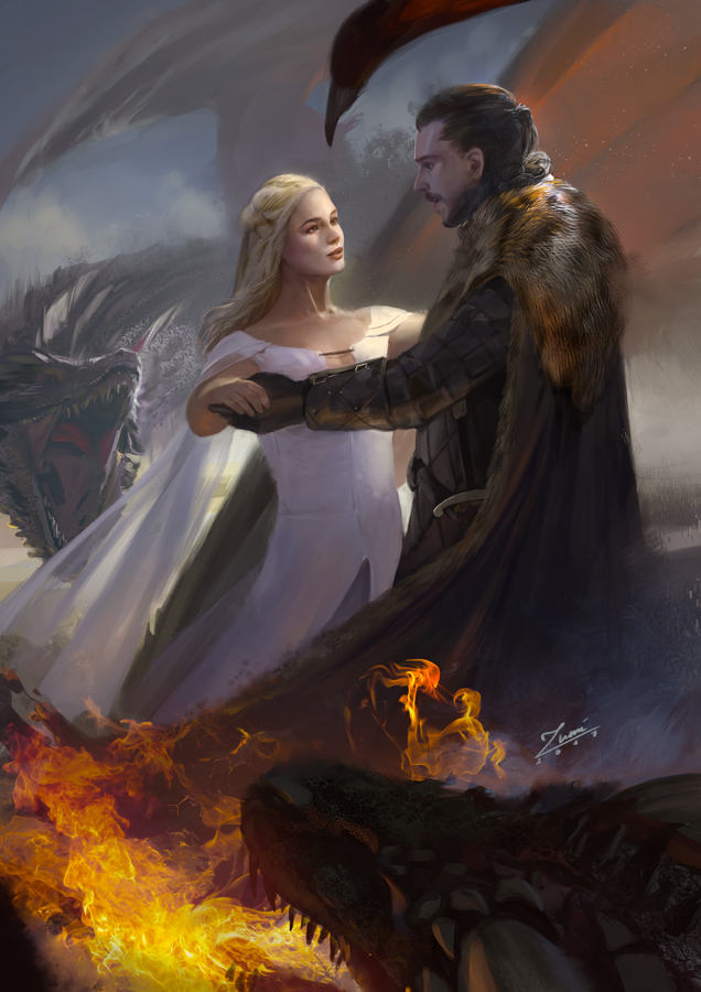 Game of Thrones: Jon and Daenerys by zumidraws