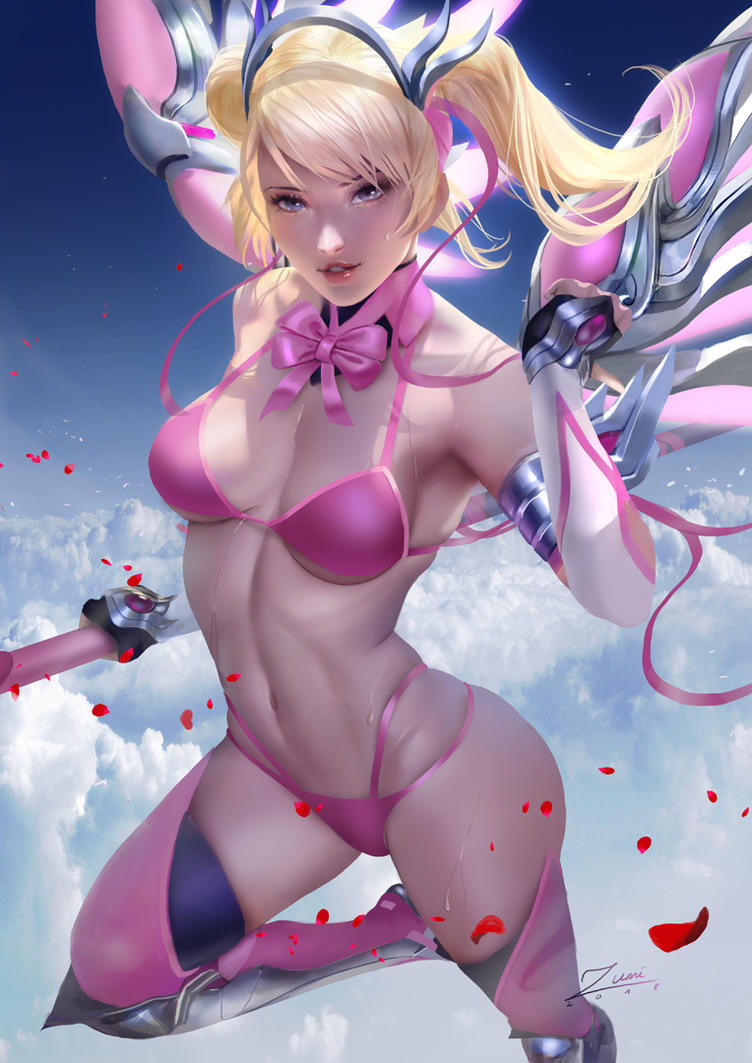 Pink Bikini Mercy by zumidraws