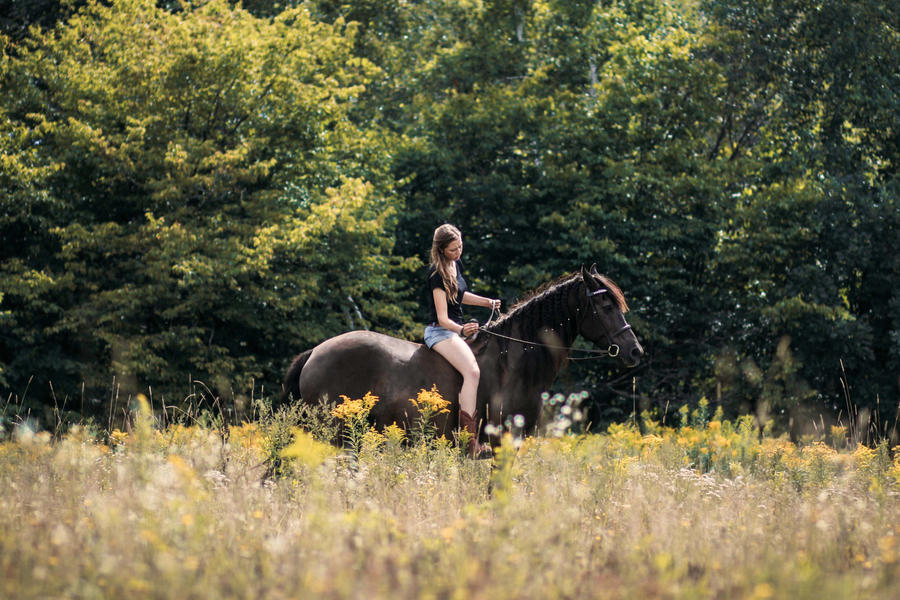 Girl and her horse. by Marievarp