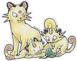 Meowth and Persian. by DhTier