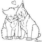 Lynx couple lineart by CrasyWolfGirl
