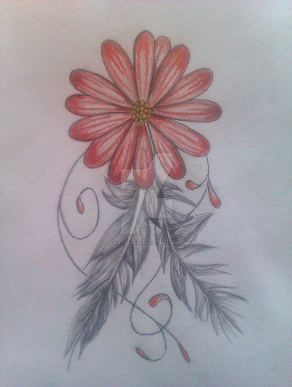 Tattoo Design Flower And Feather By Littledangerous1 On Deviantart