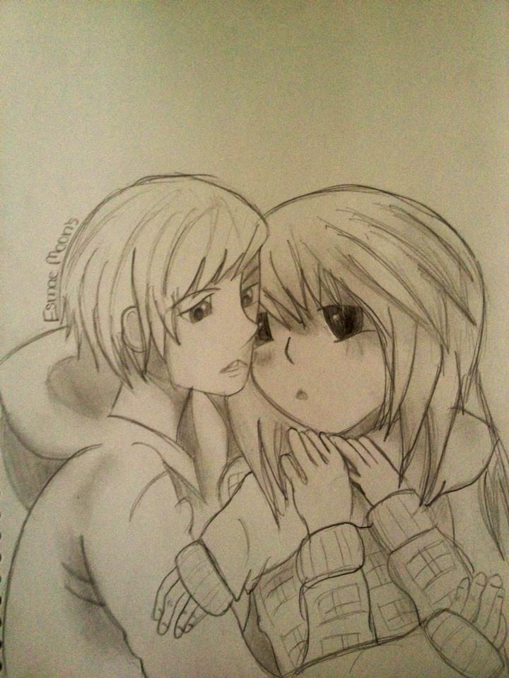 anime couple cuddling by ZoMbiiMoon on DeviantArt