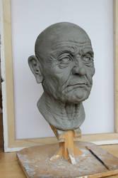 Wrinkley Old Man Head Sculpt by kate-arthur