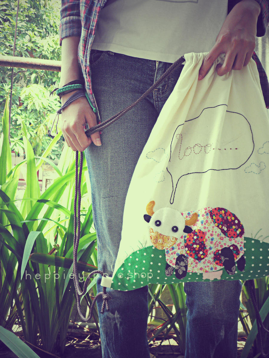 Mooo Handmade Backpack by heppieyippie