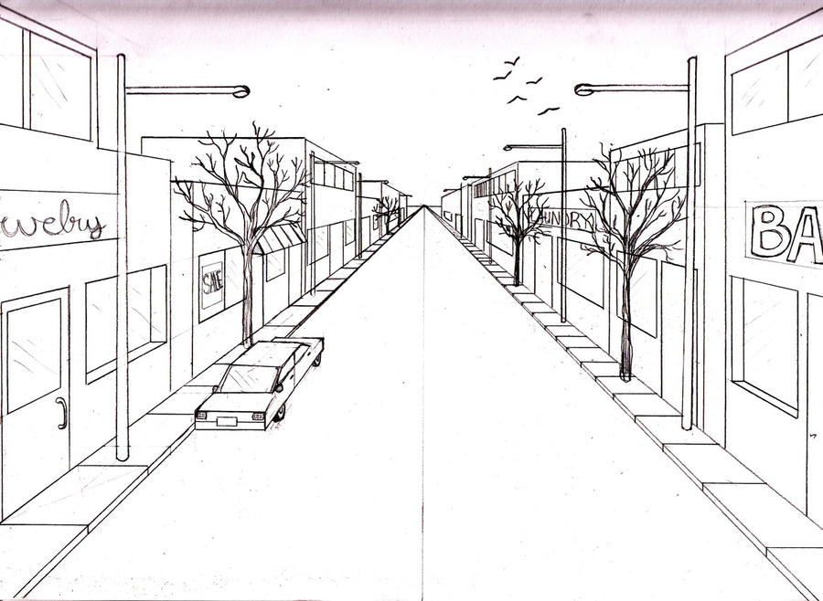 Main Street 1 point perspective by MerrilynthePirate on ...