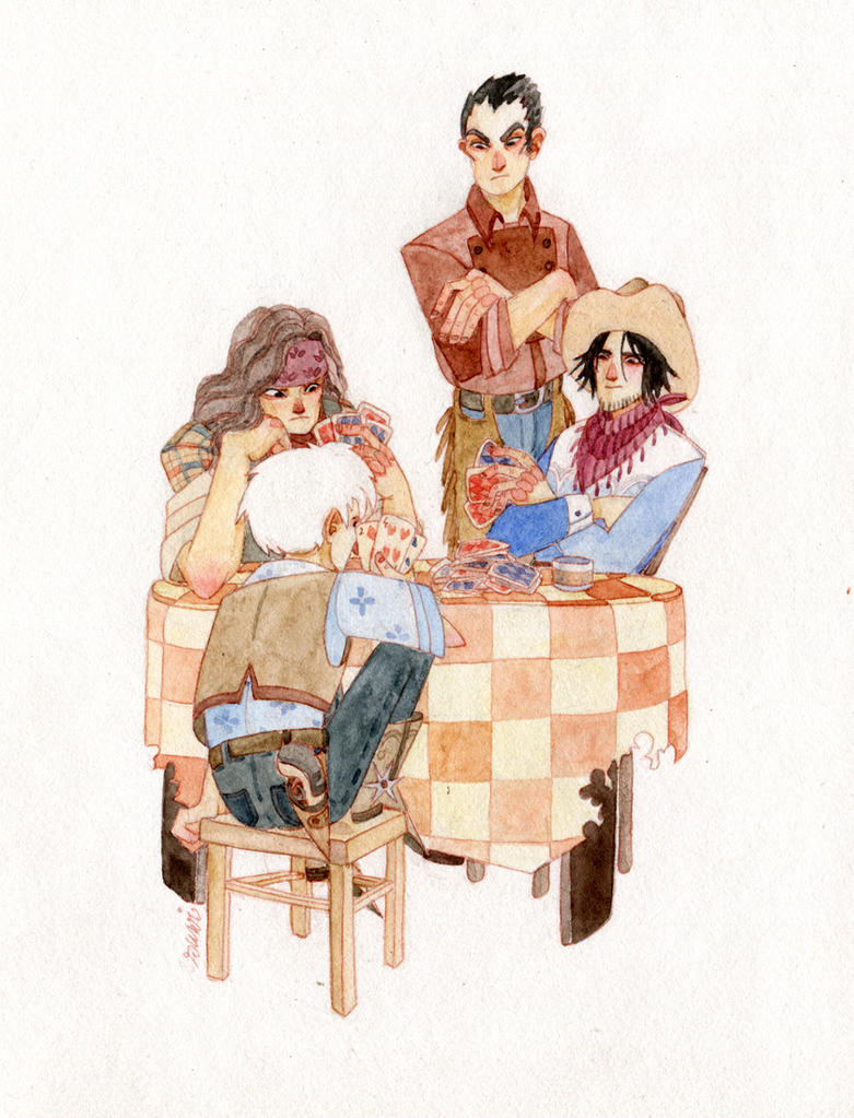 card players by s-u-w-i